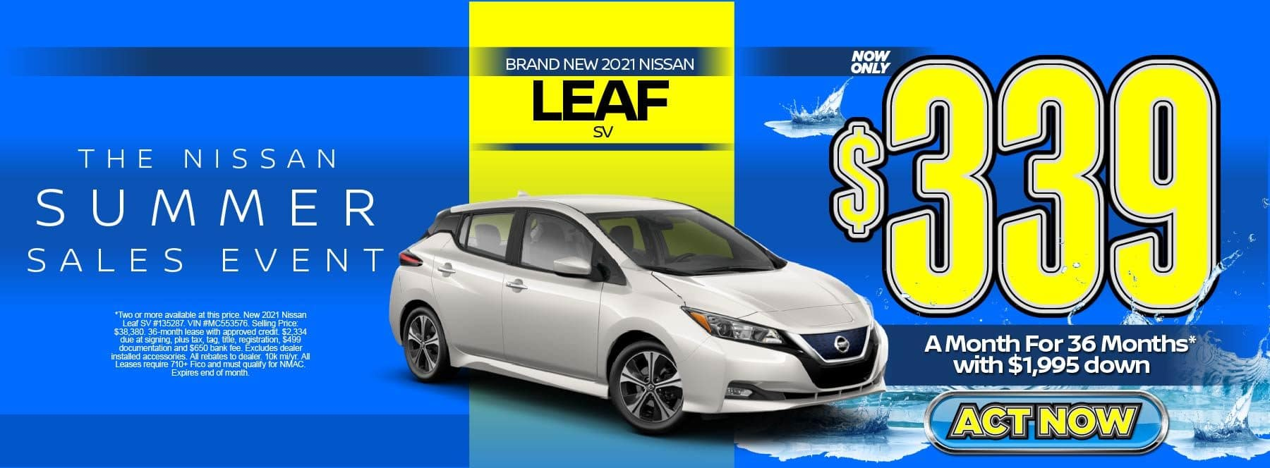 New 2021 Nissan Leaf SV – Lease for $339/mo for 36 months with $1,995 Down* Act now.