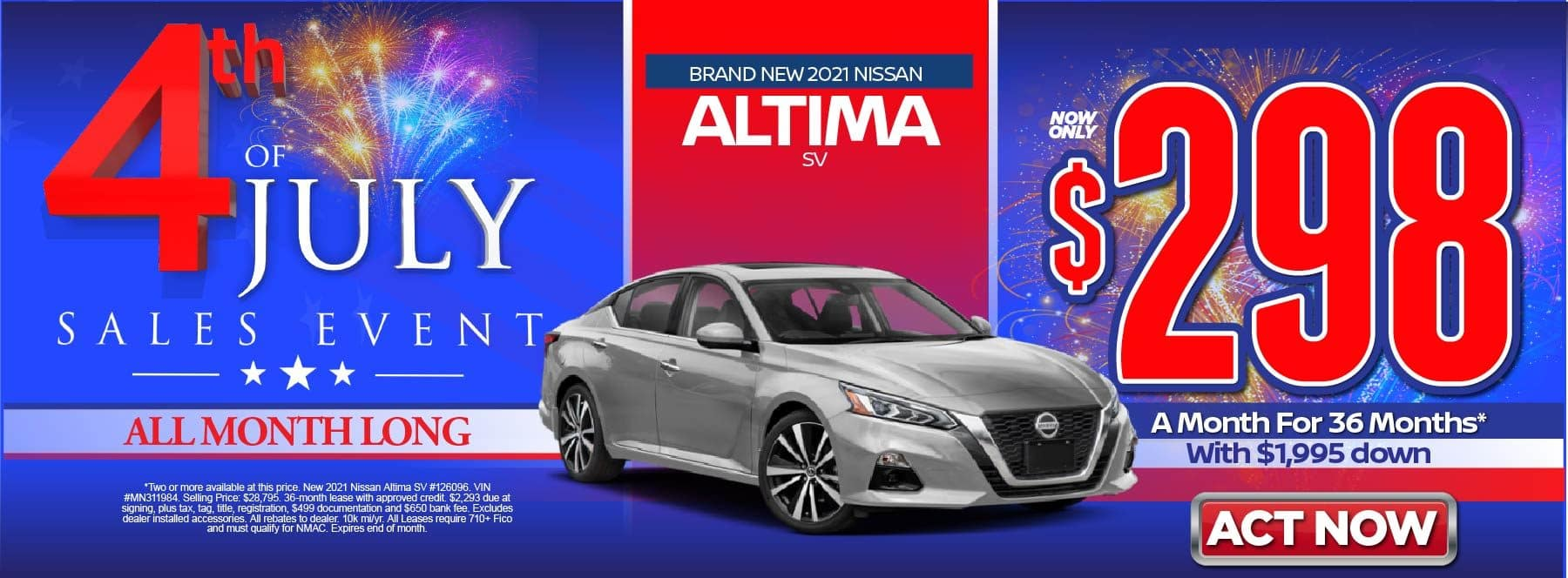 New 2021 Nissan Altima SV – Lease for $298/mo for 36 months with $1,995 Down* Act now