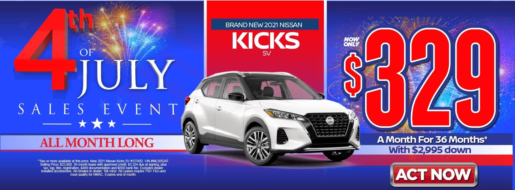New 2021 Nissan Kicks S – Lease for $329/mo for 36 months with $2,995 Down* Act now.