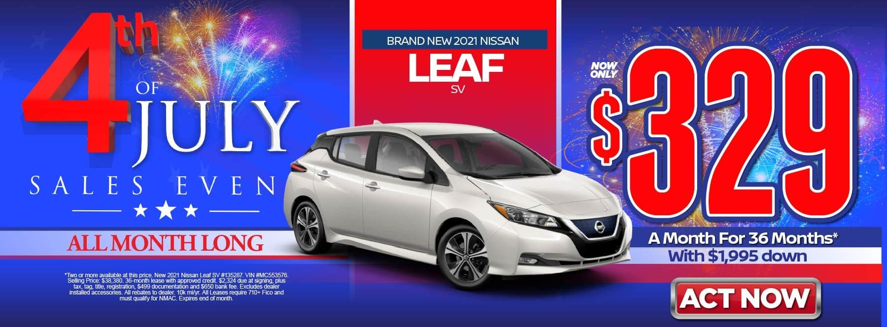 New 2021 Nissan Leaf SV – Lease for $329/mo for 36 months with $1,995 Down* Act now.