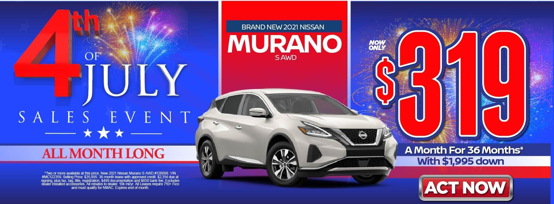 New 2021 Nissan Murano S AWD – Lease for $319/mo for 36 months with $1,995 Down* Act now.