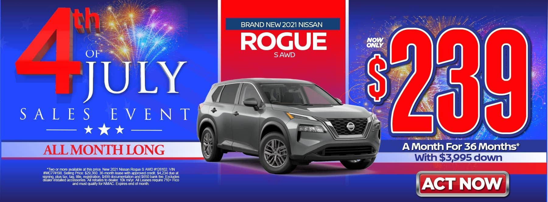 New 2021 Nissan Rogue SV AWD – Lease for $239/mo for 36 months with $3,995 Down* Act now.