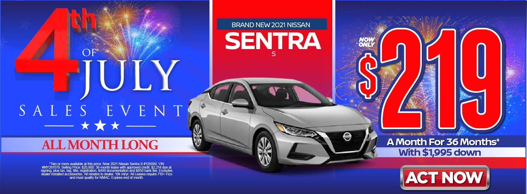 New 2021 Nissan Sentra SV – Lease for $219/mo for 36 months with $1,995 Down* Act now.