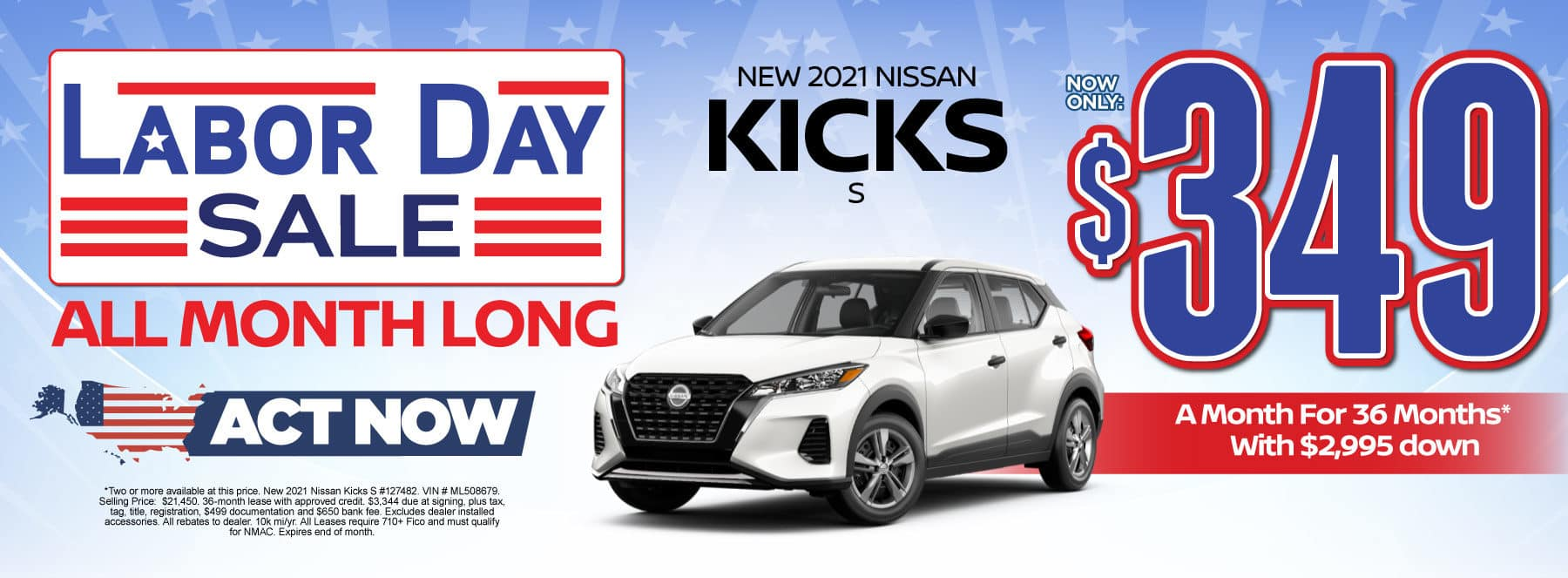 New 2021 Nissan Kicks - Now only $349 a month - Act Now