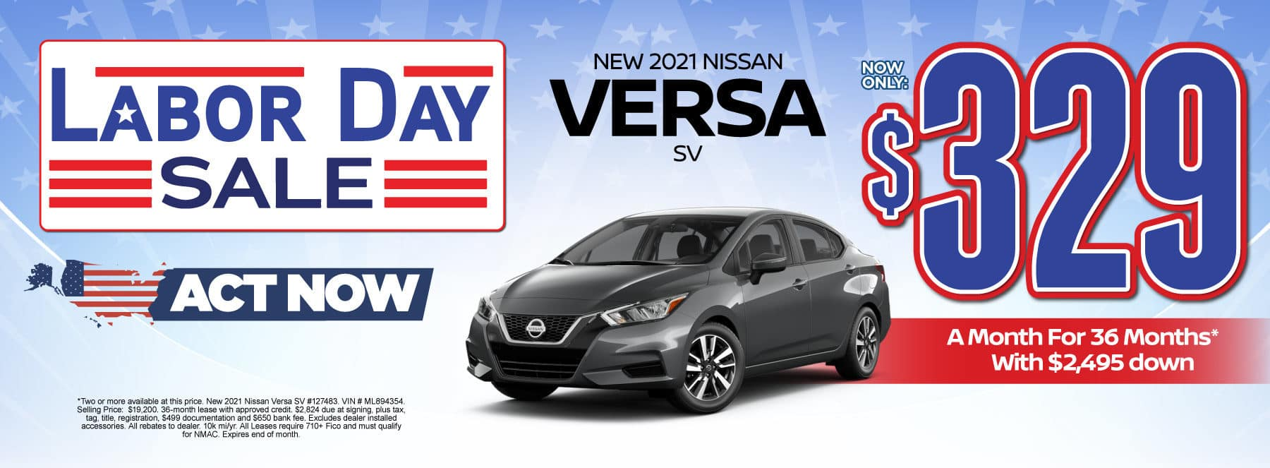 New 2021 Nissan Versa - Now only $329 a month - Act Now