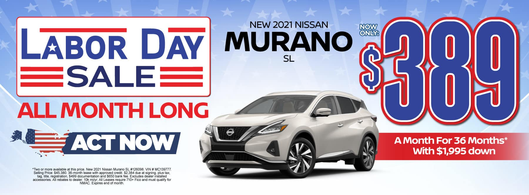 New 2021 Nissan Murano - Now only $389 a month - Act Now