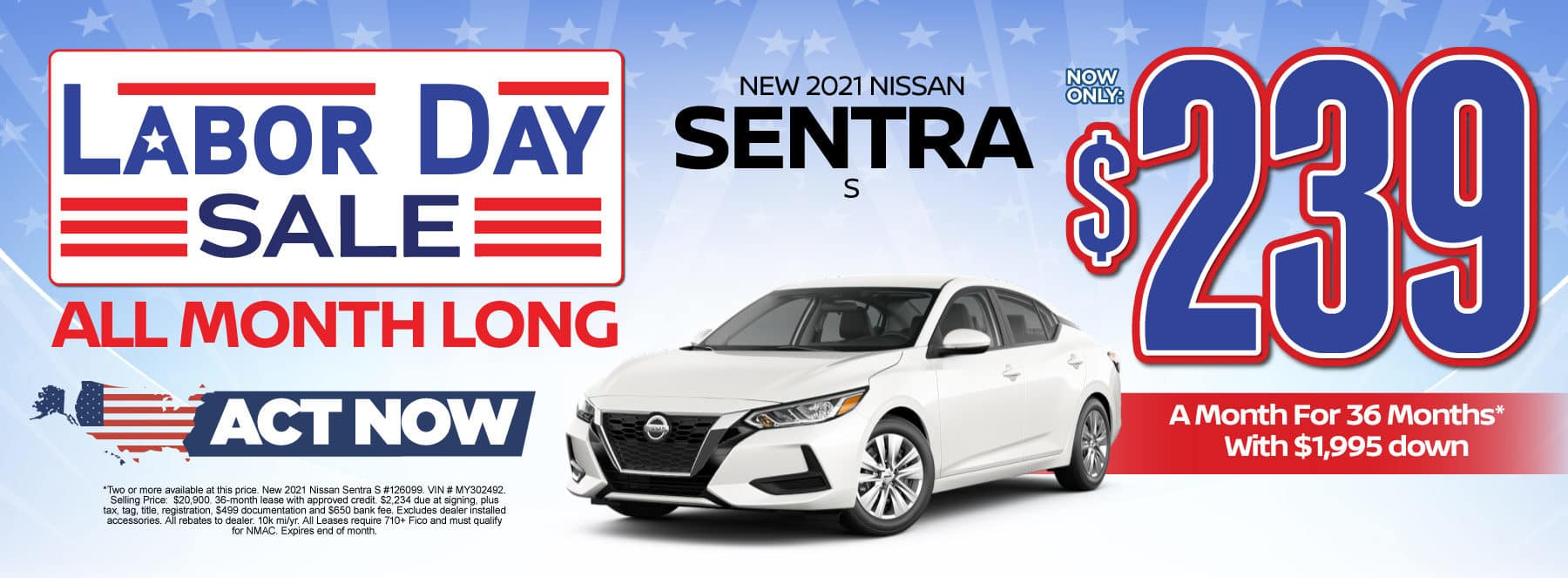 New 2021 Nissan Sentra - Now only $239 a month - Act Now