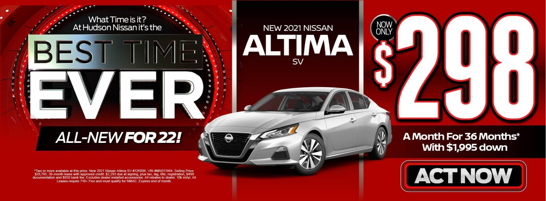 New 2021 Nissan Altima - Now only $298 a month - Act Now
