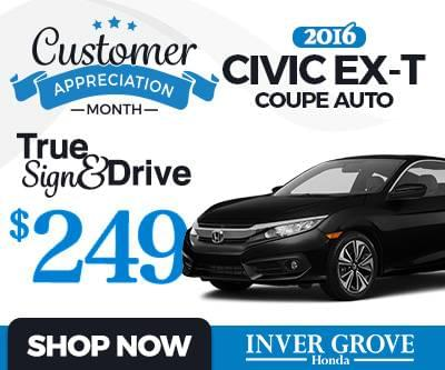 New 2016 Civic EX-T Coupe Special