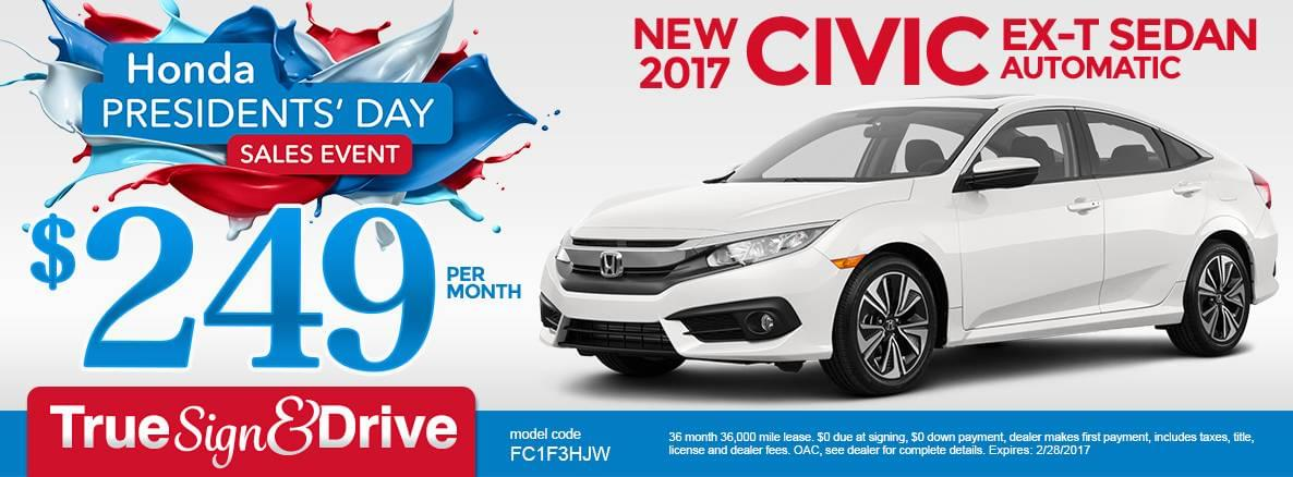 New 2017 Honda Civic EX-T Lease Special