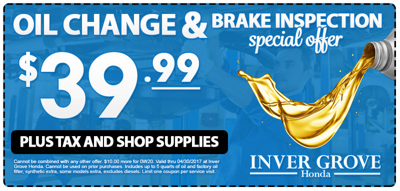 Oil Change Special >> Igh Oil Change Special April Inver Grove Honda