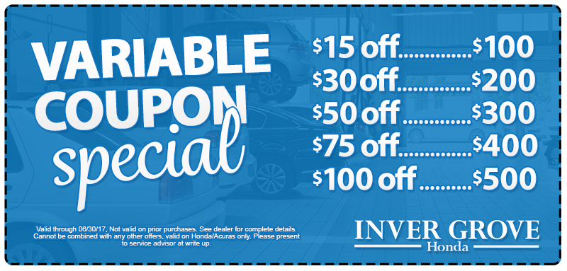 Honda service specials mn coupons oil change brake for Inver grove honda coupons