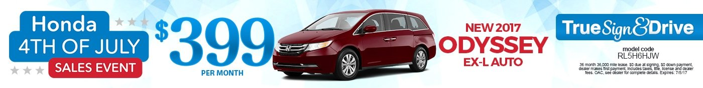 New 2016 Honda Odyssey EX-L Lease Special
