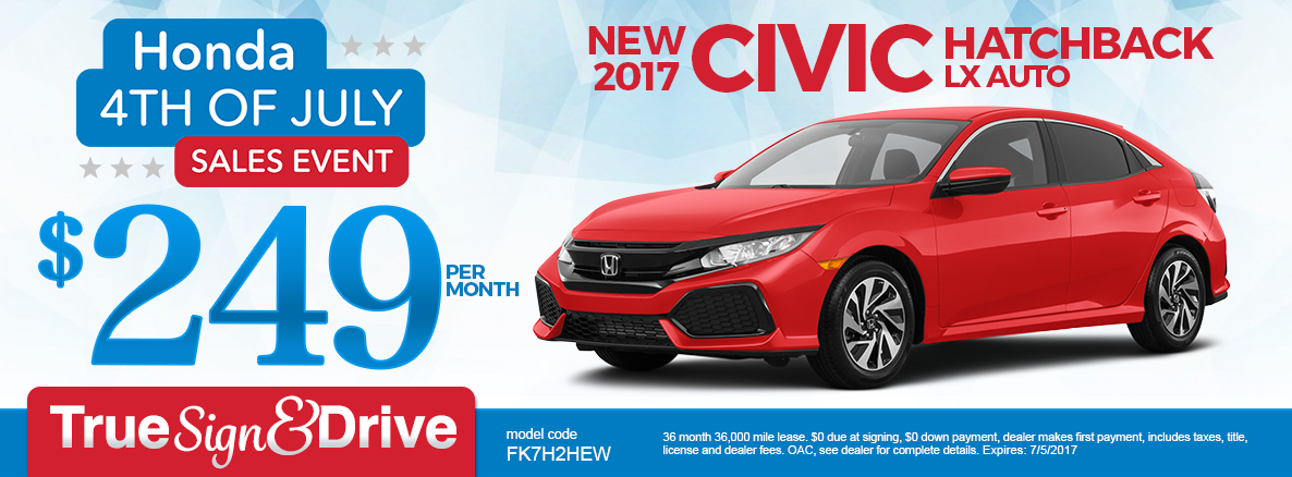 New 2017 Honda Civic Hatchback LX Lease Special