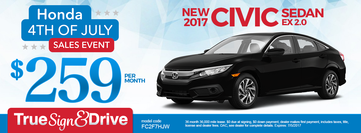 New 2017 Honda Civic EX 1.5T Lease Special