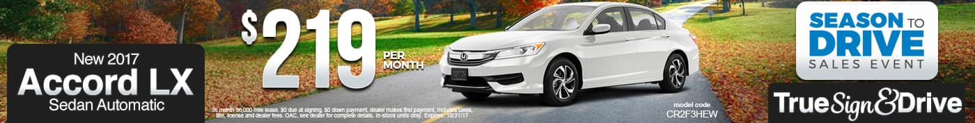 New 2017 Honda Accord LX Lease Special