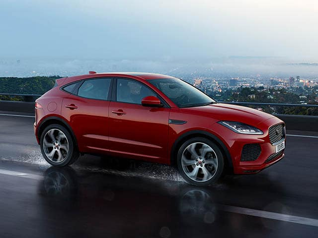 2018 Jaguar E-PACE First Edition driving through rain square