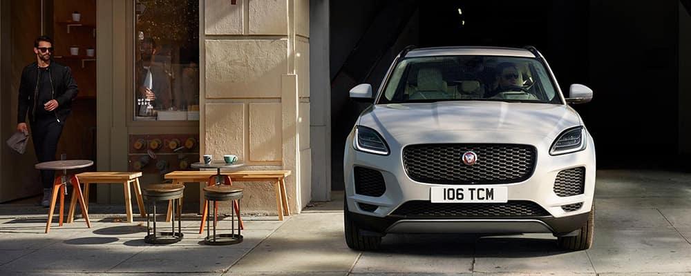 2018 Jaguar E-PACE pulling out of parking garage banner