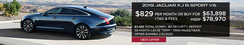 2019 Jaguar XJ R-Sport V6 | Stock # K8W17540 | MSRP $78,970 or buy for $63,898 + fees & taxes | $829 plus tax | 39 months | 7,500 miles per year | $5,988 total down & $0 security deposit