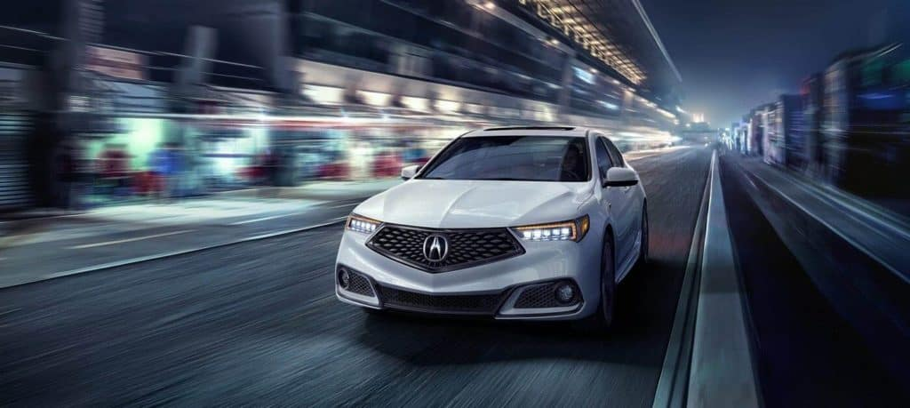2019 Acura TLX White Front View Driving
