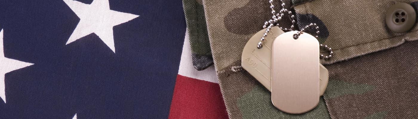 American flag and dog tags