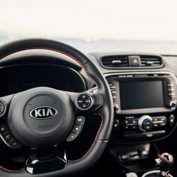 steering wheel and dash in 2019 Kia Soul