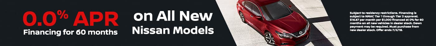 0% APR on all New Vehicles at Jeffrey Nissan