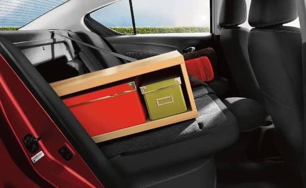 rear fold down seats in Nissan Versa Sedan