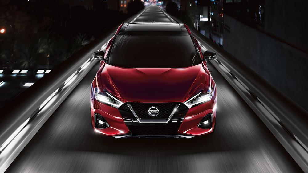 2020 Nissan Maxima driving at night