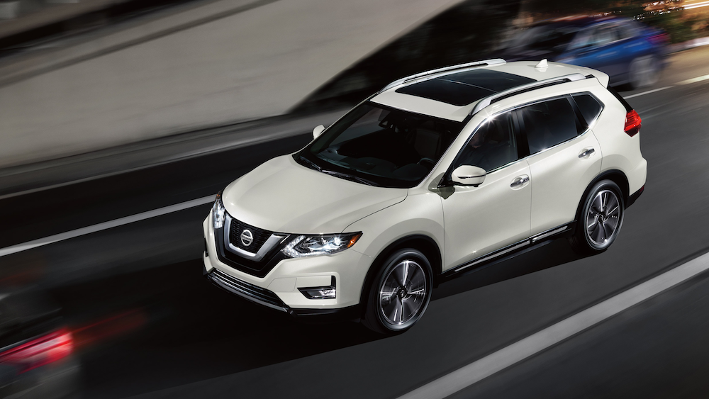 2020 Nissan Rogue driving at night