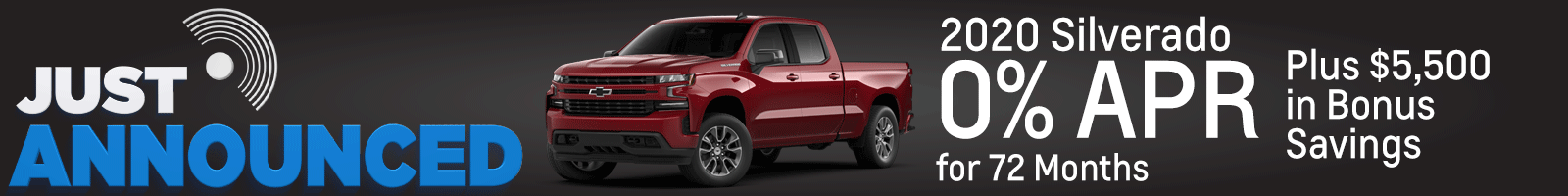 Chevy Silverado for 0% for 72 months