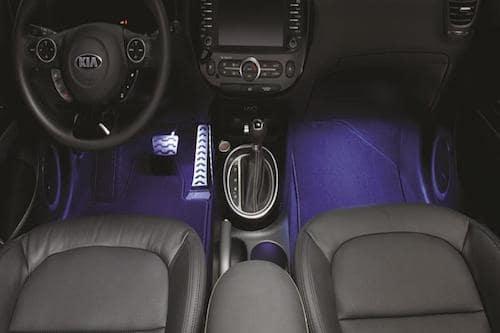 Kia Soul interior footwells illuminated with blue led light