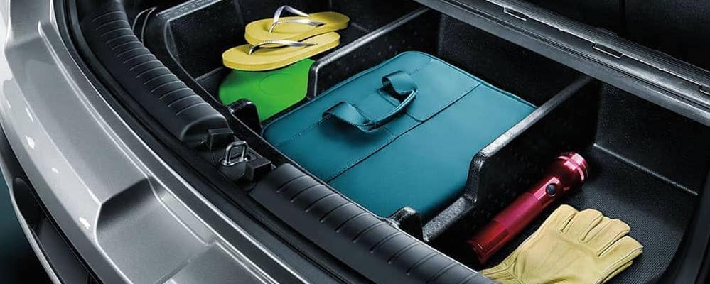 Kia Soul cargo area with organizer, flip flops, and picnic gear