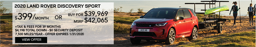 2020 Discovery Sport | Stock # LH838555 | MSRP $42,065 or buy for $39,969 + fees & taxes | $399 plus tax | 39 months | 7,500 miles per year | $4,198 total down & $0 security deposit
