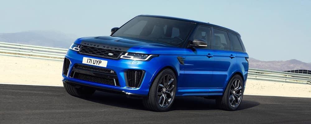 Blue 2018 Land Rover Range Rover Sport on race track banner