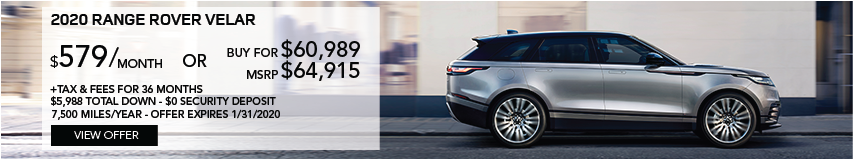 2020 Range Rover Velar | Stock # LA260659 | MSRP $64,915 or buy for $60,989 + fees & taxes | $579 plus tax | 36 months | 7,500 miles per year | $5,988 total down & $0 security deposit