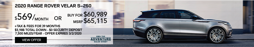 2020 RANGE ROVER VELAR S-250 DRIVING DOWN BRICK ROAD THROUGH CITY.  STOCK # LA264284. MSRP $65,115 OR BUY FOR $60,989 + FEES & TAXES. $569 PER MONTH PLUS TAX FOR 39 MONTHS. 7,500 MILES PER YEAR. $5,988 TOTAL DOWN & $0 SECURITY DEPOSIT. OFFER EXPIRES 3/2/2020.