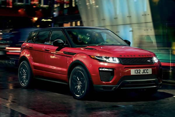 2019 Land Rover Evoque SE - Red exterior parked in the city