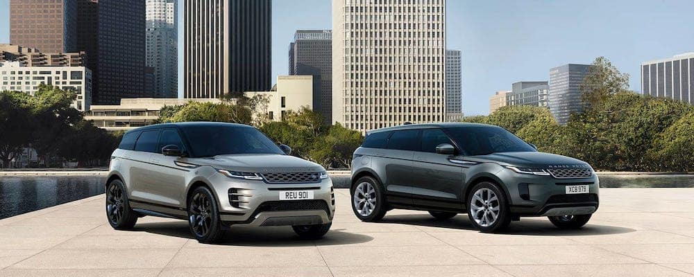 2020 range rover evoque and 2020 range rover evoque r-dynamic parked in urban setting