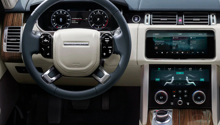 Closeup of Range Rover steering wheel and center console