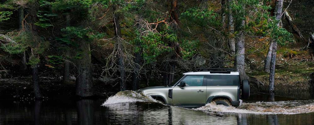 2020 Defender wading in water