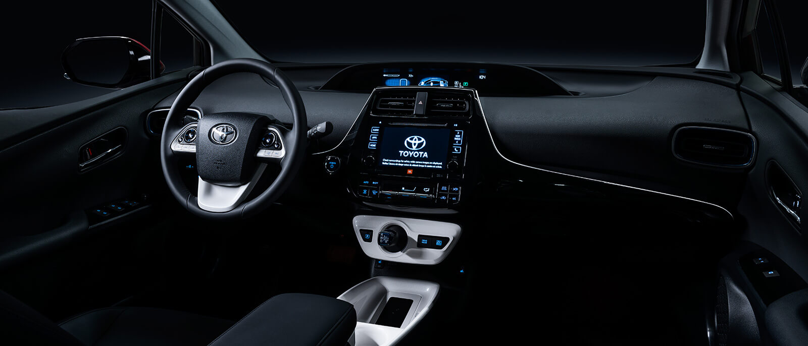Dark Toyota Steering Wheel and Dashboard