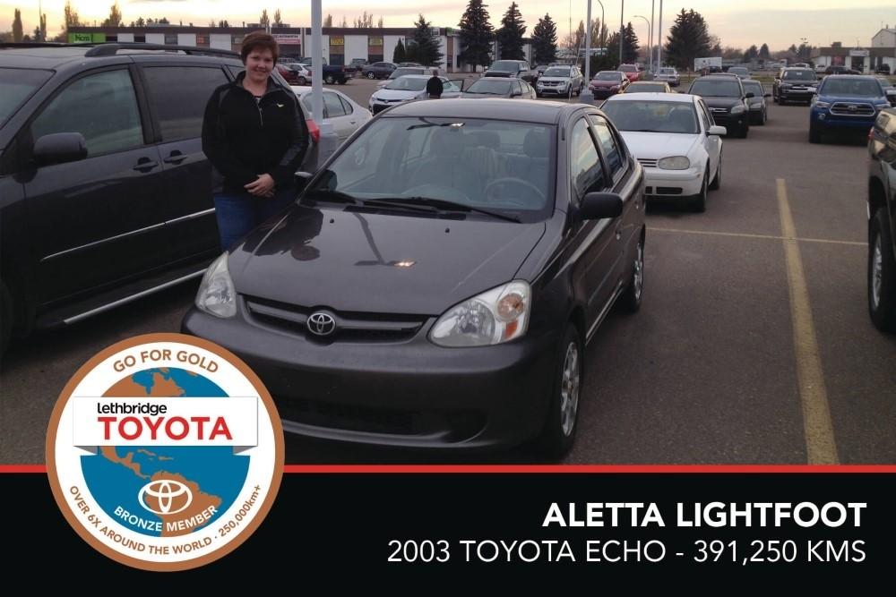 GFG. Bronze. Aletta Lightfoot. 2003 Toyota Echo. 391,250 KM. July 2017
