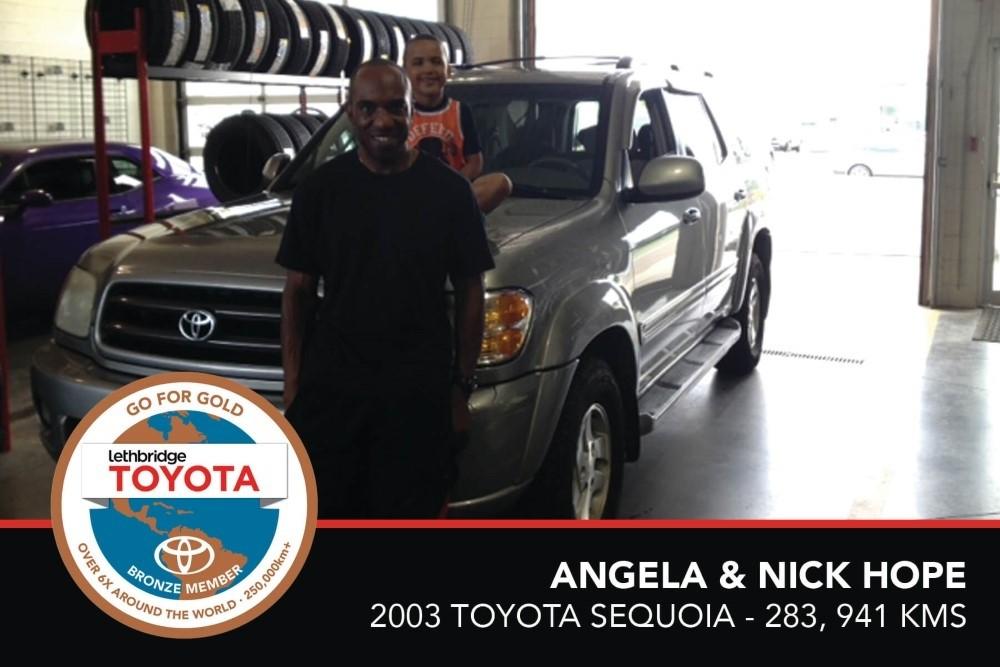 GFG. Bronze. Angela _ Nick Hope. 2003 Toyota Sequoia. 283 941 KM. July 2017