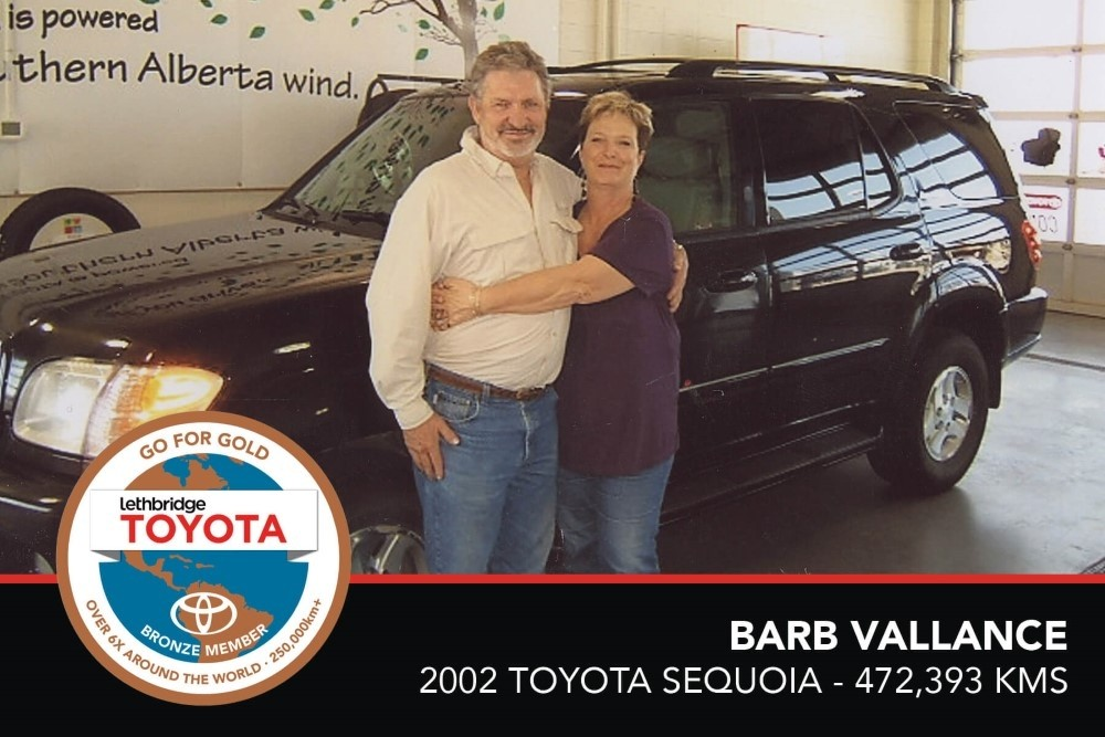 GFG. Bronze. Barb Vallance. 2002 Toyota Sequoia. 472 393 KM. July 2017