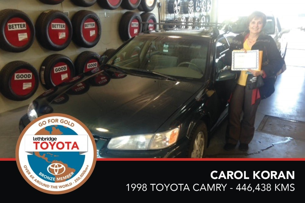 GFG. Bronze. Carol Koran. 1998 Toyota Camry. 446, 438 KM.July 2017.