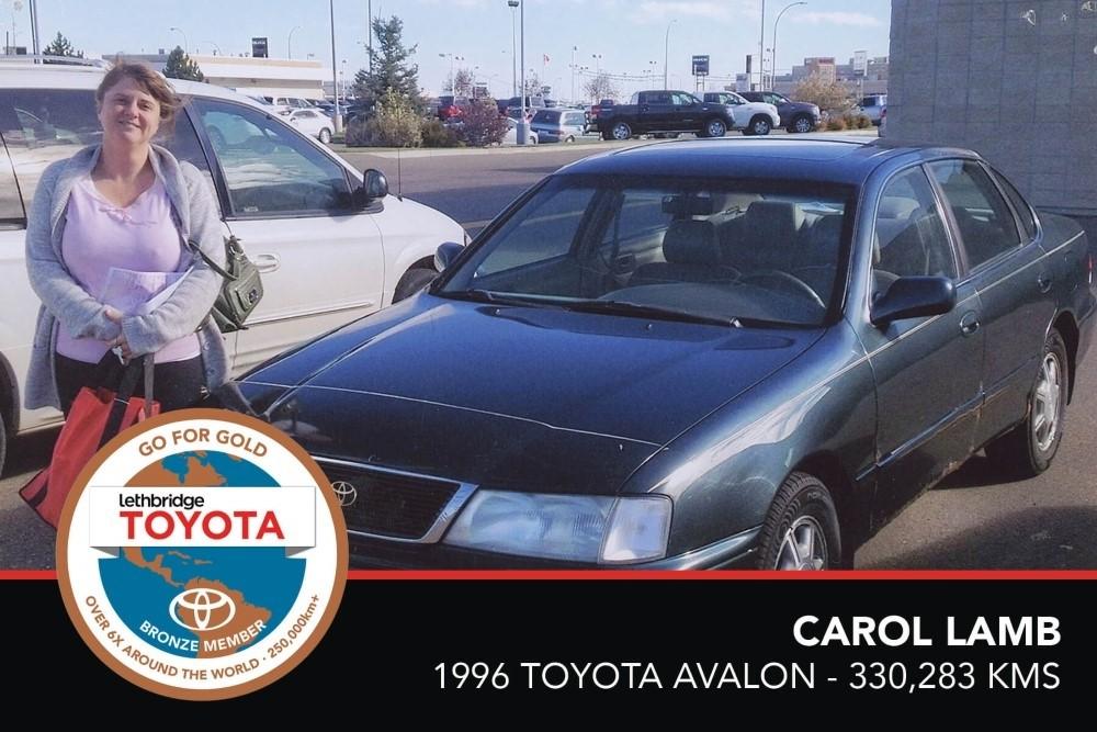 GFG. Bronze. Carol Lamb. 1996 Toyota Avalon. 330 283 KM. July 2017