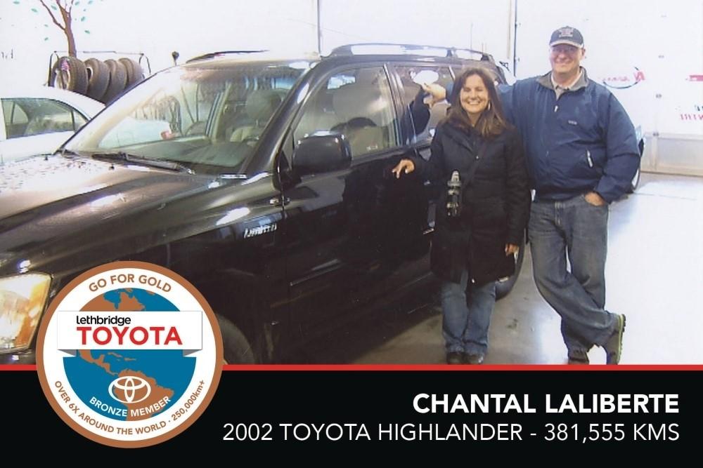 GFG. Bronze. Chantal Laliberte. 2002 Toyota Highlander. 381 555 KM. July 2017