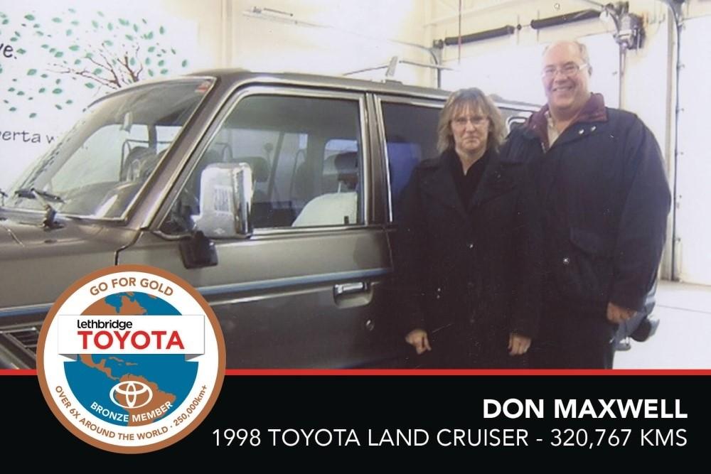 GFG. Bronze. Don Maxwell. 1998 Toyota Land Cruiser. 320 767 KM. July 2017