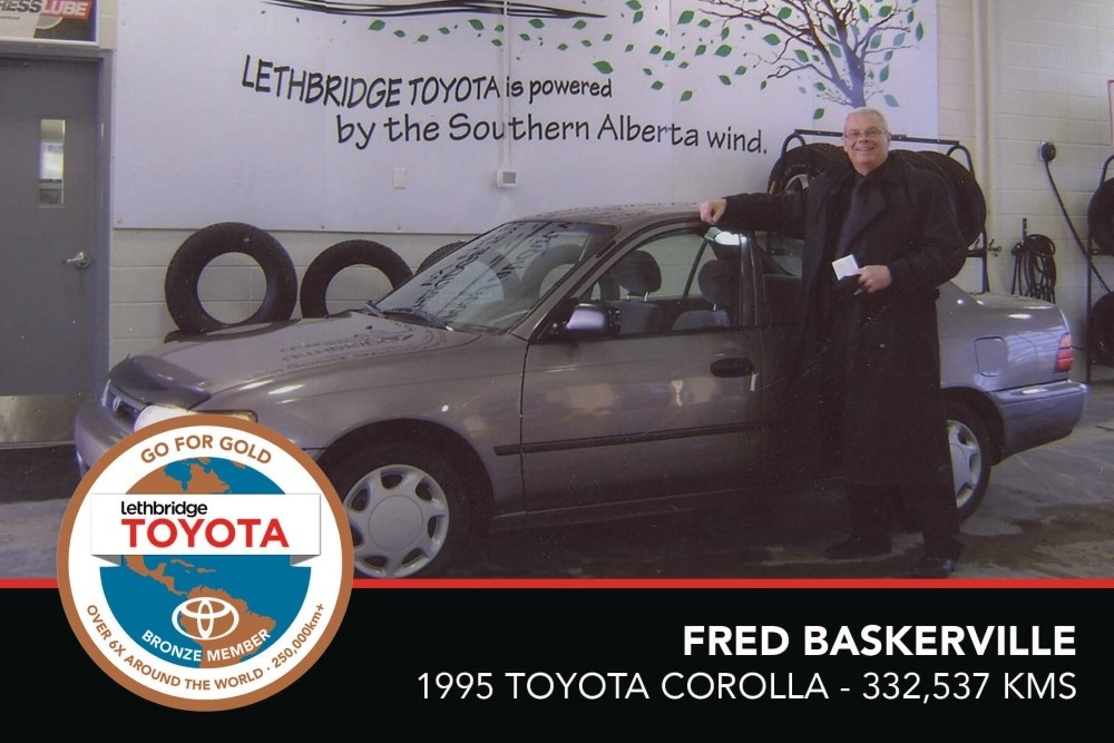 GFG. Bronze. Fred Baskerville. 1995 Toyota Corolla. 332 537 KM. July 2017